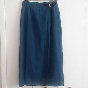 Vintage Long Denim Wrap Skirt with Suede Belt